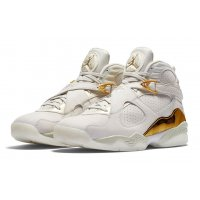 Shoes Hi top trainers Nike Air Jordan 8 Confetti Champagne Light Bone/Metallic Gold–White