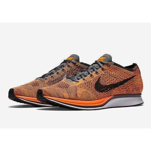 Shoes Low top trainers Nike Flyknit Racer Total Orange Total Orange/White-Dark Grey
