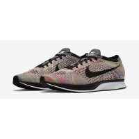 Shoes Low top trainers Nike Flyknit Racer Multicolor Dark Grey/Black-Blue Glow-Pink Flash