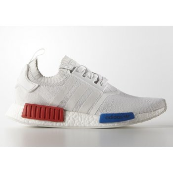 Shoes Low top trainers adidas Originals NMD R1 Pimeknit White Vintage White/Lush Red