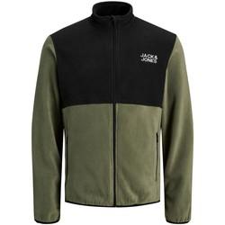 Clothing Men Fleeces Jack & Jones Veste  Hype Fleece vert olive/noir
