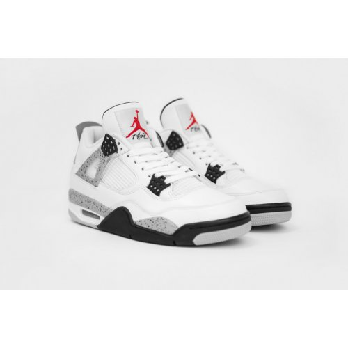 Shoes Hi top trainers Nike Air Jordan 4 White Cement White/Fire Red-Tech Grey-Black