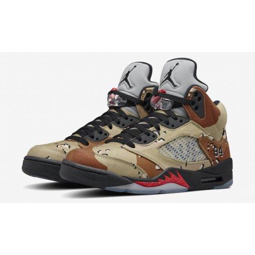 Shoes Hi top trainers Nike Air Jordan 5 x Supreme Desert Camo Bamboo/Black-Classic Stone