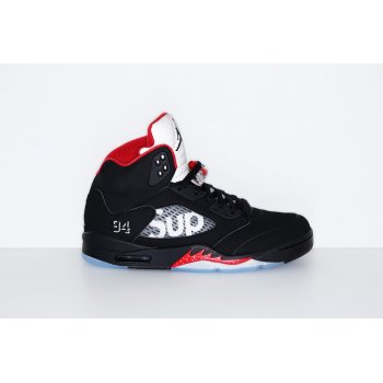 Shoes Hi top trainers Nike Air Jordan 5 x Supreme Black Fire Red Black Fire Red