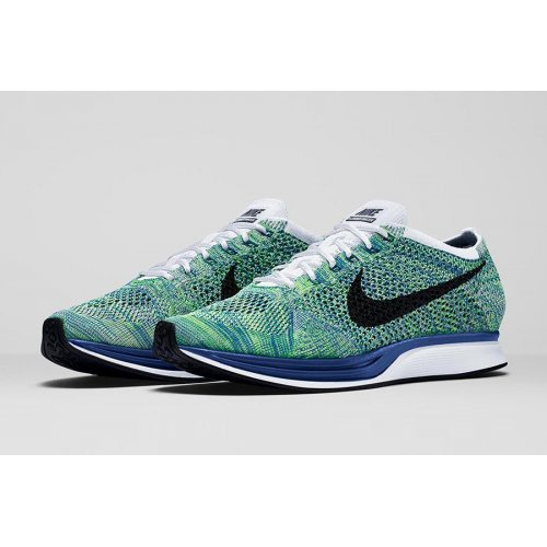 Shoes Low top trainers Nike Flyknit Racer Green Strike White/Game Royal/Green Strike/Black
