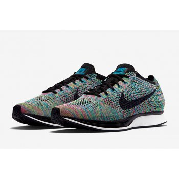 Shoes Low top trainers Nike Flyknit Racer Multicolor 2.0 Green Strike/Blue Lagoon/Pink Pow/Black