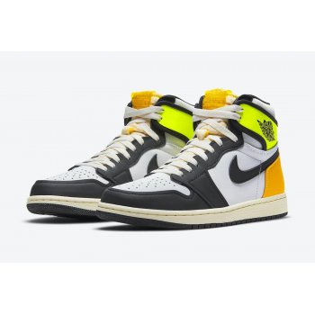 Shoes Hi top trainers Nike Air Jordan 1 High Volt Gold White/Volt-University Gold-Black