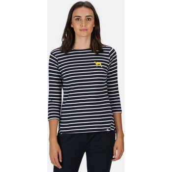 Clothing Women T-shirts & Polo shirts Regatta POLINA TShirt Navy Stripe Blue Blue