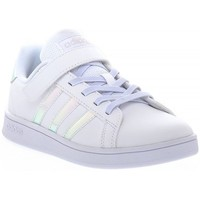 Shoes Children Low top trainers adidas Originals Grand Court C White, Pink, Turquoise