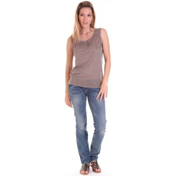 Clothing Women Tops / Sleeveless T-shirts Sud Express DEBARDEUR DOTESSE BRONZE Gold