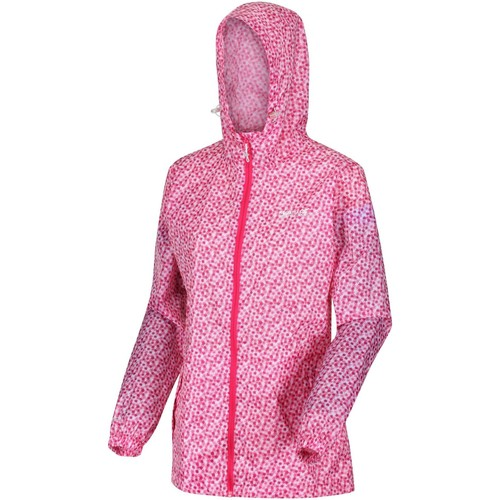 Clothing Women Parkas Regatta PACK-IT Waterproof Shell Jacket Cool Aqua Edelweiss Pink Pink
