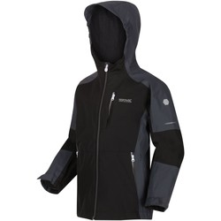 Clothing Children Jackets Regatta Calderdale II Waterproof Hooded Walking Jacket Black Black
