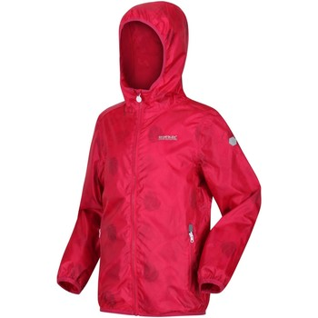 Clothing Children Macs Regatta PRINTED LEVER Waterproof Shell Jacket Fiery Coral Pink Pink