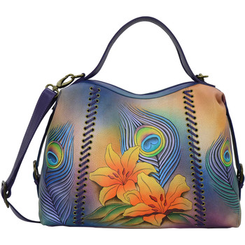 Bags Women Shoulder bags Anuschka 631 Peacock Lily -Hand Painted Leather Multicolour
