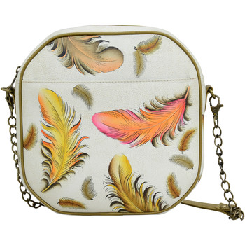 Bags Women Shoulder bags Anuschka 643Floatng Feathrs Ivry-RFID Block Handpainted Leather Multicolour