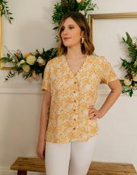 Clothing Women Tops / Blouses Céleste MESANGE Yellow / White