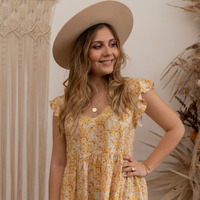 Clothing Women Short Dresses Céleste DAHLIA Yellow / White
