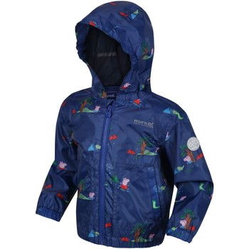 Clothing Children Parkas Regatta MUDDY PUDDLE Waterproof Shell Jacket White Polka Blue Blue