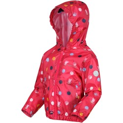 Clothing Girl Parkas Regatta MUDDY PUDDLE Waterproof Shell Jacket White Polka Pink Pink