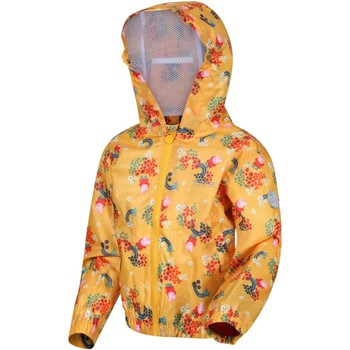 Clothing Children Parkas Regatta MUDDY PUDDLE Waterproof Shell Jacket White Polka Yellow Yellow