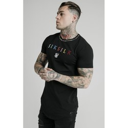 Clothing Men Short-sleeved t-shirts Siksilk Curved Hem Colours Gym Tee 16662 Black