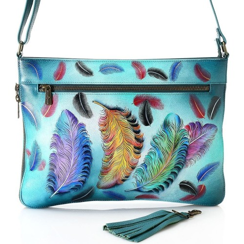Bags Women Shoulder bags Anuschka 616 Floating Feathers-Hand Painted Leather Multicolour