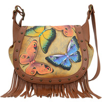 Bags Women Shoulder bags Anuschka 619 Earth Song -Hand Painted Leather Multicolour