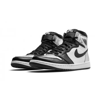 Shoes Hi top trainers Nike Air Jordan 1 High Silver Toe Black/Metallic Silver-White-Black
