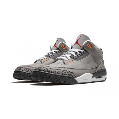 Shoes Low top trainers Nike Air Jordan 3 Cool Grey Silver/Light Graphite-Orange Peel-Sport Red