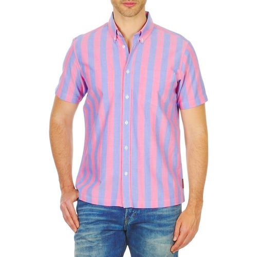 Clothing Men short-sleeved shirts Ben Sherman BEMA00487S Pink / Blue