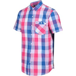 Clothing Men Short-sleeved shirts Regatta RAMIEL Shirt Navy Check  Pink Pink