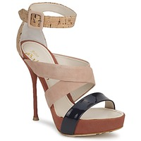 Shoes Women Sandals John Galliano AN6363 Pink / Marine / Beige