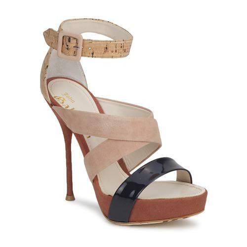 Shoes Women Sandals John Galliano AN6363 Pink / Marine / Beige