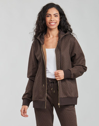 Clothing Women Sweaters MICHAEL Michael Kors UNISEX MK DOT ZIP HOODIE Brown