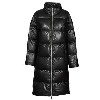 Clothing Women Duffel coats MICHAEL Michael Kors LONG FAUX LTHR PUFFER Black