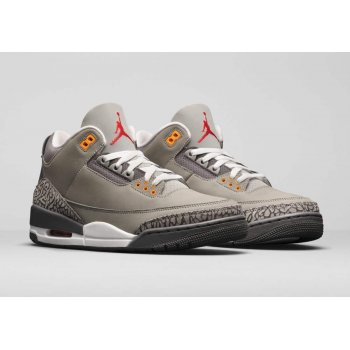 Shoes Hi top trainers Nike Air Jordan 3 Cool Grey Silver/Light Graphite-Orange Peel-Sport Red