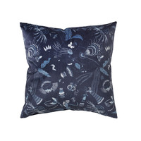 Home Cushions covers Broste Copenhagen BELL FLOWER Blue / Night