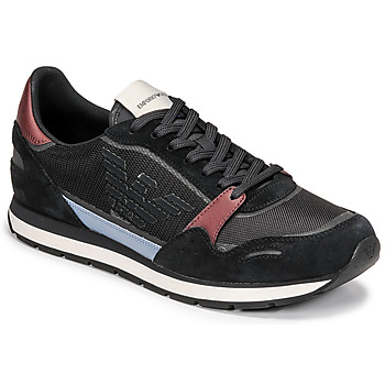 Shoes Men Low top trainers Emporio Armani ANIMA Black / Bordeaux