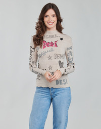Clothing Women Long sleeved tee-shirts Desigual LETTERING Beige