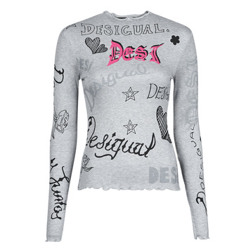 Clothing Women Long sleeved tee-shirts Desigual LETTERING Grey