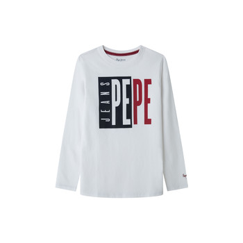 Clothing Boy Long sleeved tee-shirts Pepe jeans AARON White