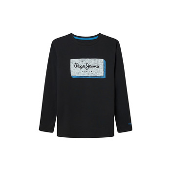 Clothing Boy Long sleeved tee-shirts Pepe jeans ASIER Black