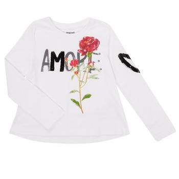 Clothing Girl Long sleeved tee-shirts Desigual FLOR White