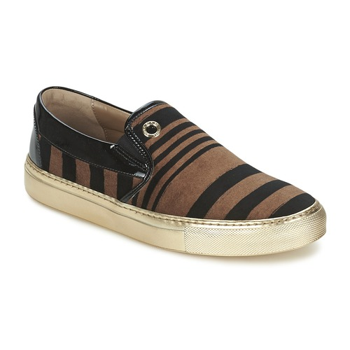 Shoes Women Slip-ons Sonia Rykiel STRIPES VELVET Black / Brown