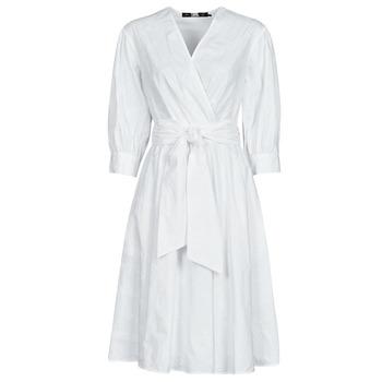 Clothing Women Short Dresses Karl Lagerfeld LOGO EMROIDERED SHIRT DRESS White