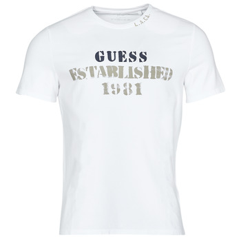 Clothing Men Short-sleeved t-shirts Guess WORKFOR CN SS TEE White