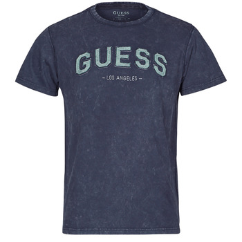 Clothing Men Short-sleeved t-shirts Guess GUESS COLLEGE CN SS TEE Marine