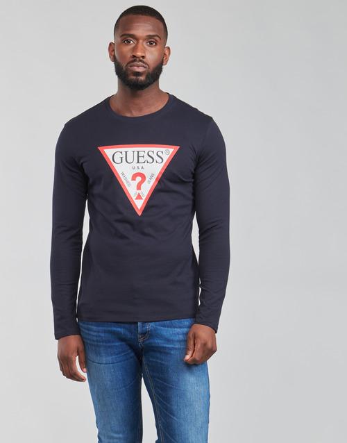 Clothing Men Long sleeved tee-shirts Guess CN LS ORIGINAL LOGO TEE Marine
