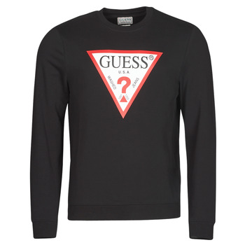 Clothing Men Sweaters Guess AUDLEY CN FLEECE Black