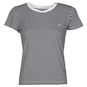 Clothing Women Short-sleeved t-shirts Guess ES SS GUESS LOGO BABY TEE Black / White